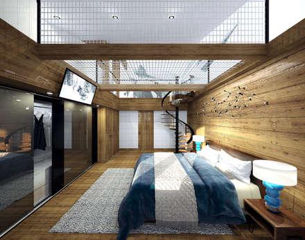Дизайн интерьеров спален в шале: Спальни в . Автор – enki design