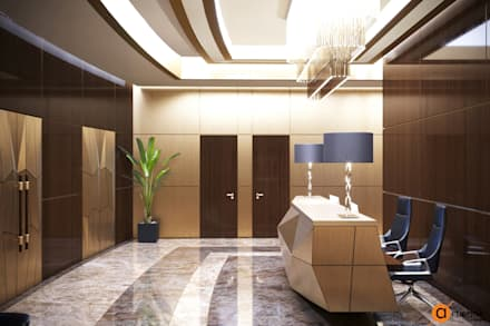 Стойка рецепци, перекликаясь с дизайном входных дверей, имитирует огранку драгоценного камня: Офисные помещения в . Автор – Art-i-Chok