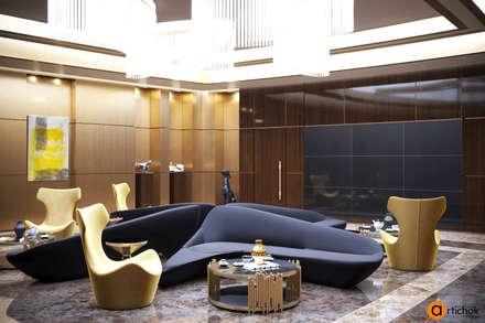 Дизайн зоны ресепшн в стиле модерн с использованием натуральных материалов: Офисные помещения в . Автор – Art-i-Chok