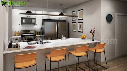 Modern Style Kitchen Design Ideas Pictures:  Kitchen units by Yantram Architectural Design Studio