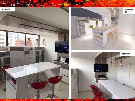 COCINA ARAVENA-LAS CONDES: Muebles de cocinas de estilo  por H3A ARQUITECTOS