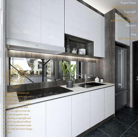 WET KITCHEN: modern Kitchen by Enrich Artlife & Interior Design Sdn Bhd