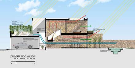 Corte Bioclimático : Garajes de estilo moderno por Alberto Zavala Arquitectos