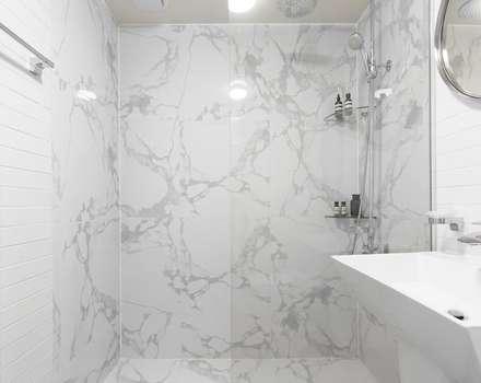 화이트와 우드로 아늑한 갤러리처럼 꾸민 30평대 아파트 인테리어: husk design 허스크디자인의  화장실