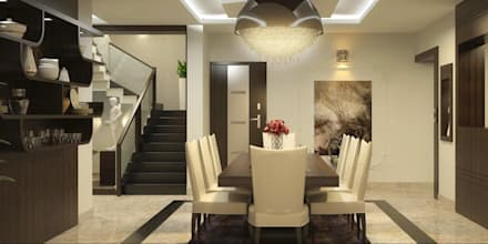 Apartment Designs in Kerala: asian Dining room by Monnaie Interiors Pvt Ltd