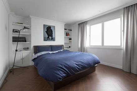 모던 클래식한 무드의 20평대 빌라 인테리어: husk design 허스크디자인의  침실