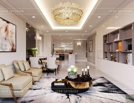 Thiết kế căn hộ Gateway Thảo Điền sang trọng và thanh lịch - Phong cách Tân Cổ Điển:  Phòng khách by ICON INTERIOR