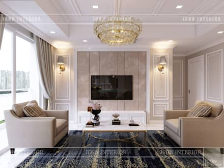 Thiết kế căn hộ cao cấp sang trọng mang phong cách Tân Cổ Điển:  Phòng khách by ICON INTERIOR