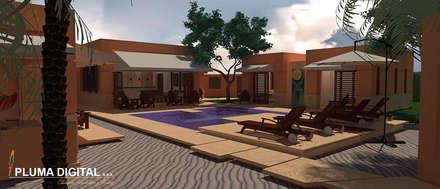 Visualización Arquitectónica: Piscinas de estilo moderno por PLUMA DIGITAL SAS.