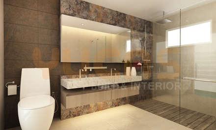 double storey house in cheras: modern Bathroom by Yucas Design & Build Sdn. Bhd.