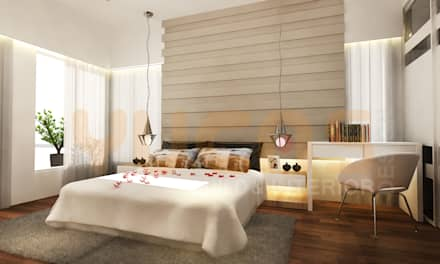 double storey house in cheras: modern Bedroom by Yucas Design & Build Sdn. Bhd.