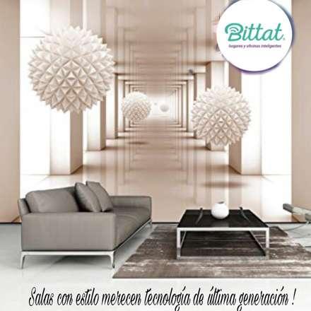 Automatización de luces y cortinas: Estudios y despachos de estilo moderno por Bittat