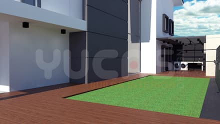 cheras double storey house:  Front yard by Yucas Design & Build Sdn. Bhd.