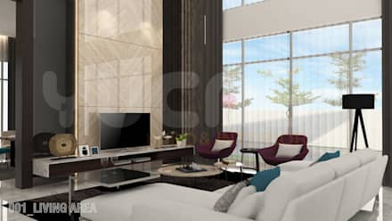 bungalow at segambut: modern Living room by Yucas Design & Build Sdn. Bhd.