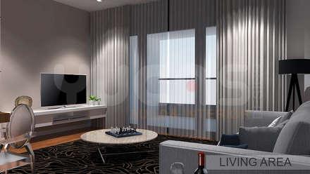Aroris Condo at Mont Kiara: modern Living room by Yucas Design & Build Sdn. Bhd.