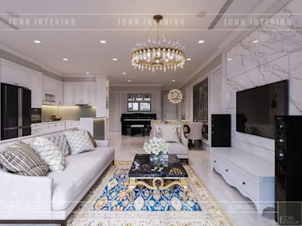Vinhomes Golden River đẳng cấp với phong cách thiết kế Tân Cổ Điển:  Phòng khách by ICON INTERIOR