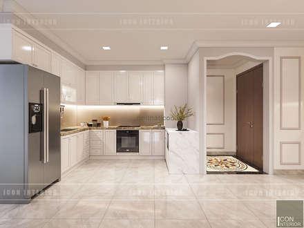 Thiết kế nội thất Tân Cổ Điển sang trọng phong cách Châu Âu:  Nhà bếp by ICON INTERIOR