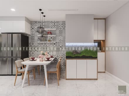 Vẻ đẹp thanh lịch đến từ sự đơn giản - Phong cách thiết kế hiện đại:  Phòng ăn by ICON INTERIOR