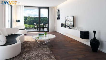 Riverside Modern 3D House Interior Design: classic Living room by Rayvat Rendering Studio