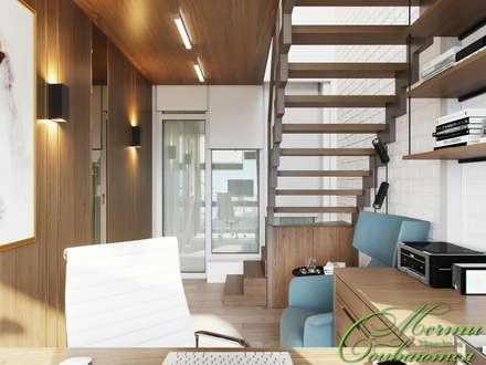 Кабинет под лестницей: Рабочие кабинеты в . Автор – Компания архитекторов Латышевых 'Мечты сбываются'