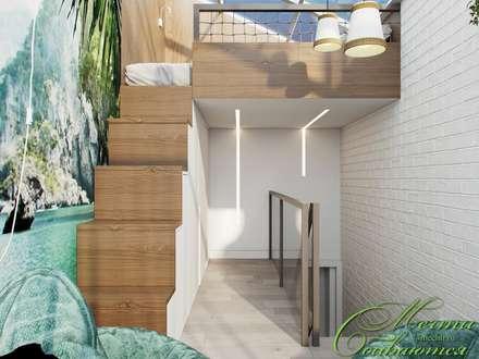 Кабинет под лестницей: Лестницы в . Автор – Компания архитекторов Латышевых 'Мечты сбываются'