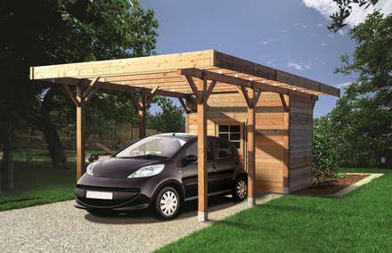 Carport + Ripostiglio in legno IMPREGNATO 706 x 306 cm: Garage/Rimessa in stile in stile Classico di ONLYWOOD