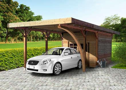 Carport + Ripostiglio in legno IMPREGNATO 706 x 406 cm: Garage/Rimessa in stile in stile Classico di ONLYWOOD