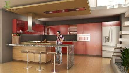 مطبخ ذو قطع مدمجة تنفيذ Eutopia Arquitectura