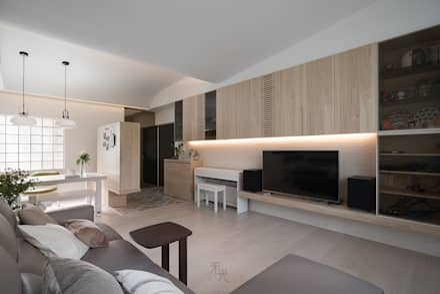 Salas / recibidores de estilo asiático por 禾光室內裝修設計 ─ Her Guang Design