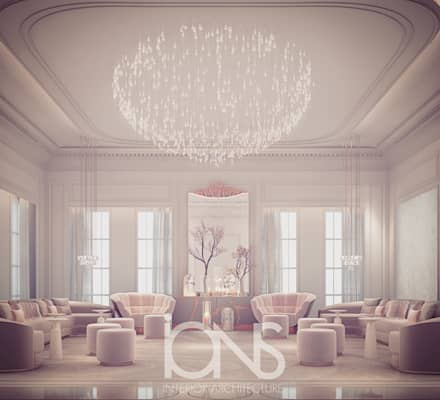 Glass House Inspired Ladies Majlis Room Design: eclectic Living room by IONS DESIGN