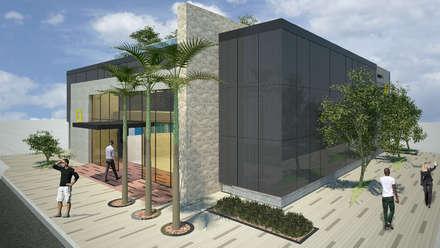 Amarilo Panamá : Oficinas y Tiendas de estilo  por Polanco Bernal Arquitectos
