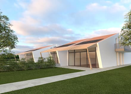 "DEVELOPMENT PLAN ""GABBIOLA"": Villa a schiera in stile  di DAVIDE CASSINI DESIGN"