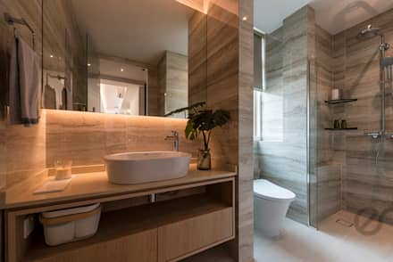 Design & Build: Melrose Condominium: modern Bathroom by erstudio Pte Ltd