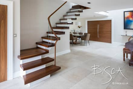 Walnut Semi Cantilevered Stair Design:  Stairs by Bisca Staircases
