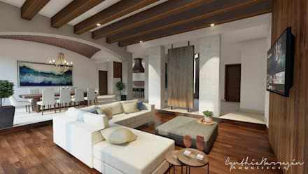 rustic Living room by Cynthia Barragán Arquitecta