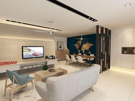 Living Area : modern Living room by Verde Design Lab