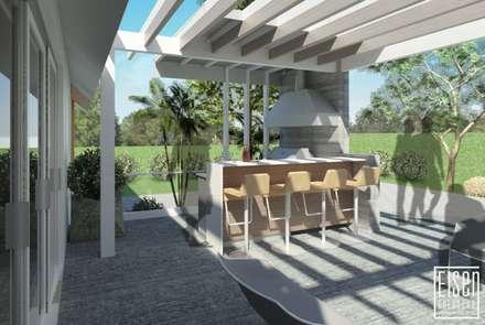 Parrillera Pergola y Deck.: Casas de madera de estilo  por Eisen Arquitecto