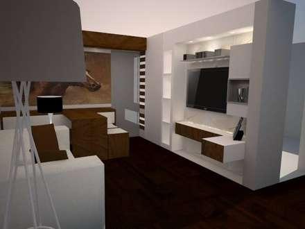 SALA COMEDOR: Salas / recibidores de estilo moderno por SindiyFiorella