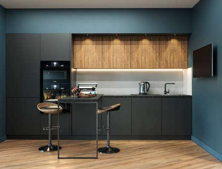 Кухня в однокомнатной квартире с барной стойкой: Встроенные кухни в . Автор – PROROOMS