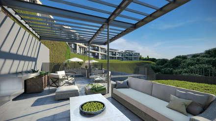 Depthouse Los Trapenses – Castro & Tagle Inmobiliaria: Jardines de estilo moderno por Xline chile