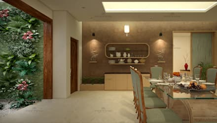 Zen Style Home Interior Designers in India: asian Dining room by Monnaie Interiors Pvt Ltd