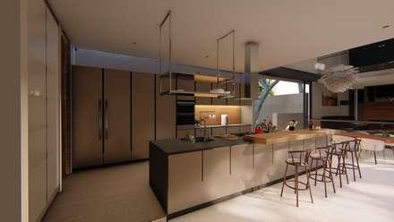 Casa Entre Rocas: Cocinas integrales de estilo  por Mimesis Arquitectura y diseño