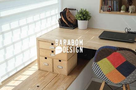 상도동 더샾 56평 리모델링 인테리어: 바라봄디자인의  서재 & 사무실