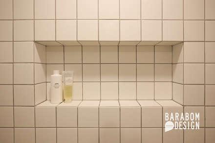 용인 수지구 동천동 수진마을 26평 인테리어: 바라봄디자인의  화장실