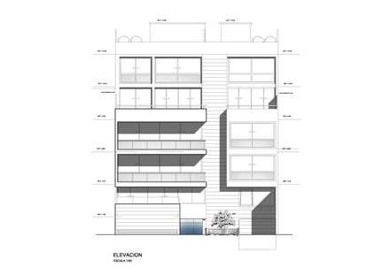 ELEVACION PRINCIPAL: Casas multifamiliares de estilo  por AREA - arquitectura y construcción