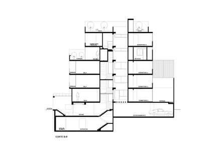 CORTE: Casas multifamiliares de estilo  por AREA - arquitectura y construcción