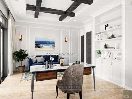 Thiết kế nội thất biệt thự 3 tầng sang trọng với phong cách hiện đại - ICON INTERIOR:  Phòng học/Văn phòng by ICON INTERIOR