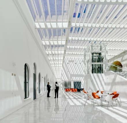 Vista interior atrio, barracones militares integrados con atrio de cristal.: Escuelas de estilo  de Ayaltointegral