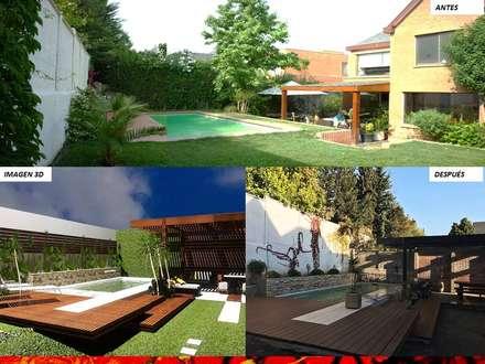 PAISAJISMO DISEÑO DE JARDINES: Piscinas de jardín de estilo  por H3A ARQUITECTOS
