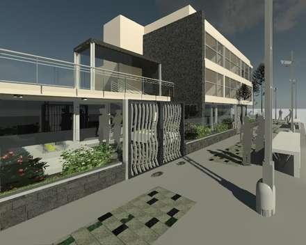 Intervención en exteriores de Edificio España: Casas de estilo moderno por ESTUDIO KULUMAK